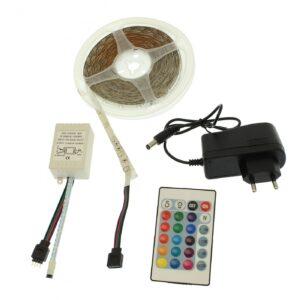 pazari4all.gr-Ταινία LED 5 μέτρων 300 SMD 3528 πολύχρωμη IP65 αδιάβροχη Sunsbell 3528, στο set συμπεριλαμβάνεται το τροφοδοτικό και το τηλεχειριστήριο