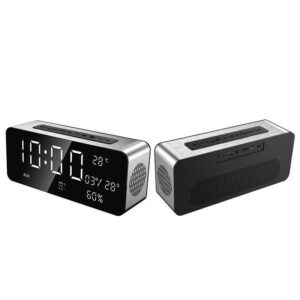 pazari4all.gr - Φορητό Bluetooth ηχείο 4.1 12W με ρολόι, ραδιόφωνο, θερμοκρασια, ξυπνητηρι, ημερολογιο και είσοδο USB/SD/AUX