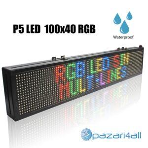 pazari4all.gr- Αδιάβροχη μονής όψεως πινακίδα LED RGB κυλιόμενων μηνυμάτων -100x40cm - ALIB-R103
