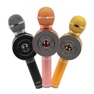 pazari4all.gr-Ασύρματο bluetooth μικρόφωνο με ενσωματωμένο ηχείο, karaoke και disco light led