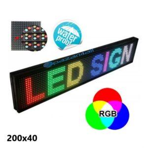 pazari4all.gr- Αδιάβροχη RGB Ηλεκτρονική Κυλιόμενη Πινακίδα / Επιγραφή LED 200x40cm με Ελληνικούς Χαρακτήρες