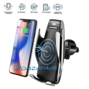 pazari4all.gr-S5 Βάση τηλεφώνου με ασύρματο φορτιστή αυτοκινήτου για iphone Android Air Vent με περιστροφή 360 °