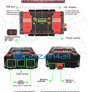 pazari4all.gr-Inverter υψηλής συχνότητας καθαρό ημιτονοειδής κύμα 1000W μετατρέπει 12V 220V ηλιακής ενέργειας με οθόνη LCD Suoer