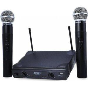 pazari4all.gr-Μικρόφωνα ασύρματα 2 χειρός karaoke UHF Weisre PGX-58