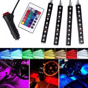 pazari4all.gr-Σετ 4 RGB LED ταινίες αυτοκινήτου για εσωτερική διακόσμηση