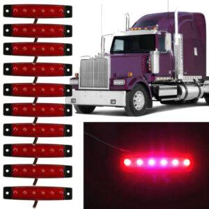 pazari4all.gr-LED Φώτα Όγκου Φορτηγών IP66 Κόκκινο 24v 10 τεμάχια