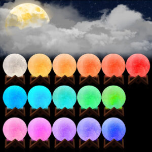 pazari4all.gr- Mini Φωτιστικό 3D σελήνη με αυτόματη λειτουργιά αλλαγής χρωμάτων 10cm OEM
