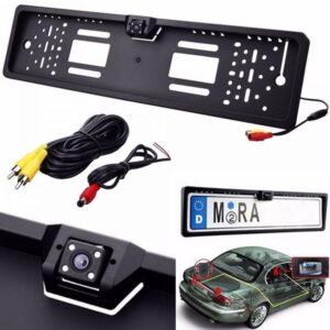 pazari4all.gr-Κάμερα 170° HD οπισθοπορείας αυτοκίνητου με Ευρωπαϊκό πλαίσιο πινακίδας της ΕΕ με 4 LED