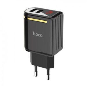 pazari4all.gr-HOCO Travel Charger - 2.4A 2x USB (LED display) plug C39A black-500x500