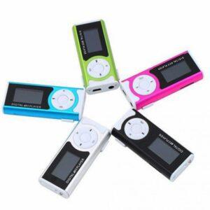 pazari4all.gr-Μεταλλικό μίνι Clip MP3 Player με υποδοχή Micro TF / SD με ακουστικό και καλώδιο USB και οθόνη LCD ΟΕΜ