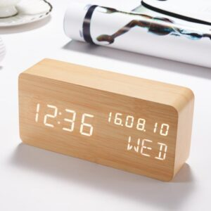 pazari4all.gr-Επαναφορτιζόμενο Ξύλινο Vintage Ρολόι Ημερολόγιο, Ξυπνητήρι, Θερμόμετρο