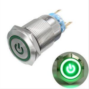 pazari4all.gr-Μπουτόν On/off 19mm με led Πράσινο φωτισμό Δύο επαφών