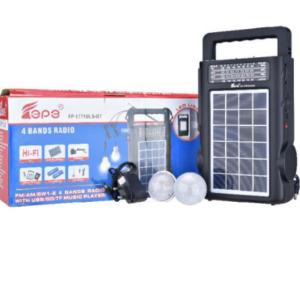 pazari4all.gr-Επαναφορτιζόμενο ηλιακό σύστημα φωτισμού με usb wireless B.T. ραδιόφωνο και 2 ΄λάμπες