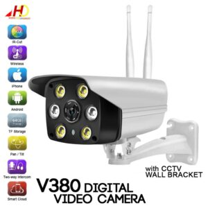 pazari4all.gr-V380 Ψηφιακή εξωτερική κάμερα ασφάλειας IP WIFI αδιάβροχη CCTV με 6 LED