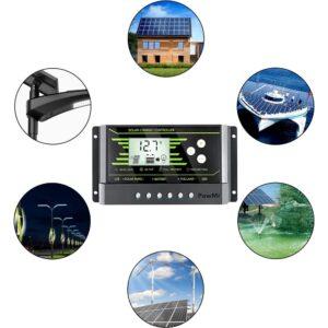 pazari4all.gr-30A Ηλιακός ρυθμιστής φόρτισης ηλιακής μπαταρίας 12V 24V με Οθόνη LCD Dual 5V USB