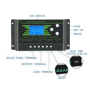 pazari4all.gr-30A Ηλιακός ρυθμιστής φόρτισης ηλιακής μπαταρίας 12V 24V