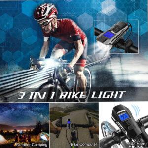 pazari4all.gr-Αδιάβροχη Κόρνα Σειρήνα 150dB - Φώτα Πορείας LED με LCD Οθόνη & Χρονόμετρο, Μετρητής Ταχύτητας & Απόστασης Ποδηλάτου με Πολλές Λειτουργίες