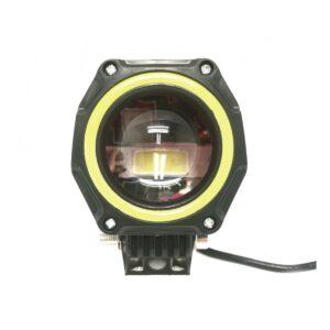 pazari4all.gr-Αδιάβροχος προβολέας μοτοσυκλέτας LED με λευκό χρώμα στεφάνης μαύρου χρώματος 1 τεμ. OEM