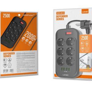 pazari4all.gr-Πολύπριζο ασφαλείας με 6 πρίζες και 4 θέσεις USB LDNIO SE6403