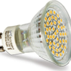 pazari4all.gr-Λάμπα LED SMD GU10 5W 220-240V 4000k θερμό φως 260 lm με γυάλινο κάλυμμα