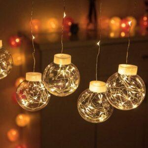 pazari4all.gr-Χριστουγεννιάτικη κουρτίνα 200 led με 10 διάφανες μπάλες – Θερμός Φωτισμός