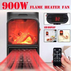 pazari4all.gr-Mini κεραμικό αερόθερμο με εφέ φλόγας 900w με τηλεχειριστήριο – Flame Heater