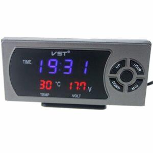 pazari4all.gr-LED ρολόι αυτοκινήτου, θερμόμετρο, βολτόμετρο, φορτιστής 12κ24v USB VST-815