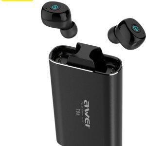 pazari4all.gr-Ασύρματα Ακουστικά Bluetooth με Θήκη Φόρτισης AWEI T85 Μαύρο