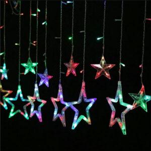 pazari4all.gr-Κουρτίνα με πολύχρωμα αστέρια μήκους 3.3 μέτρων και μέγεθος 20cm 220V