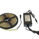 pazari4all.gr-Αδιάβροχη 5M 24W LED ταινία / strip 300 SMD 5050 με ταινία διπλής όψεως θερμό Λευκό IP65 OEM