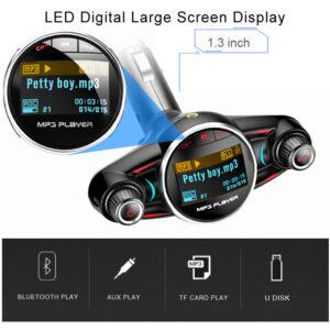 pazari4all.gr-Bluetooth FM Transmitter MP3 Player Αυτοκινήτου Με Οθόνη LED