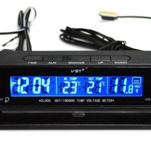 pazari4all.gr-Βολτόμετρο θερμόμετρο ρολόι αυτοκινήτου με διπλό φως φόντου VST 7010 V