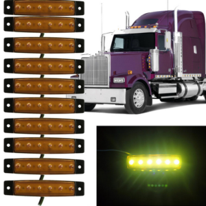 pazari4all.gr-LED Φώτα Όγκου Φορτηγών IP66 Πορτοκαλί 24v 10 τεμάχια
