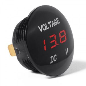 Pazari4all.gr-Βολτόμετρο υψηλής ποιότητας στρογγυλό με LED ψηφιακή πορτοκαλί οθόνη