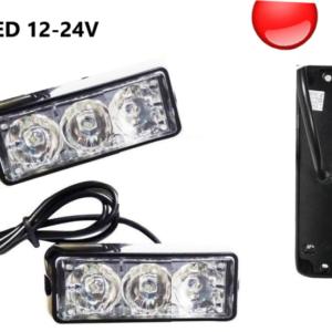 Φώτα LED Strob Αστυνομίας-Ασφαλείας Kόκκινο DC12-24V 3 LED Αδιάβροχο-pazari4all.gr
