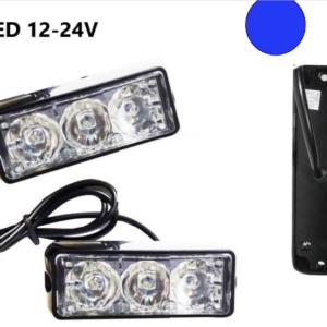 Φώτα LED Strob Αστυνομίας-Ασφαλείας Μπλέ DC12-24V 3 LED Αδιάβροχο-Pazari4all.gr