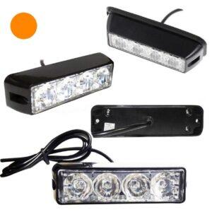 Φώτα LED Strob Αστυνομίας-Ασφαλείας πορτοκαλί DC12V 4 LED Αδιάβροχο-pazari4all.gr