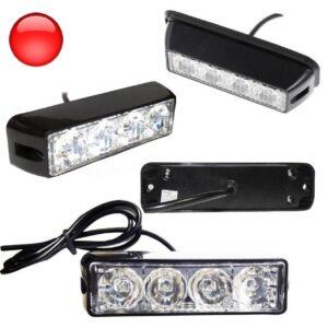 Φώτα LED Strob Αστυνομίας-Ασφαλείας κόκκινο DC12V 4 LED-pazari4all.gr