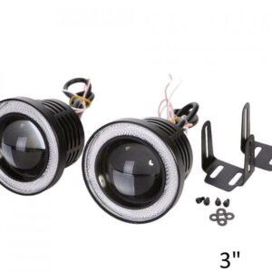 2 Χ Universal fog φώτα ομίχλης LED COB Angel Eyes 3 ίντσες 76mm μπλε στεφάνη IP65 OEM-pazari4all.gr