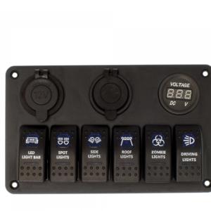 Αδιάβροχος πίνακας ελέγχου LED για σκάφος με 6 διακόπτες και μπλε φωτισμό 12V OEM.
