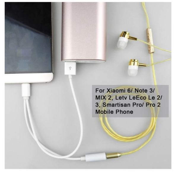 pazari4all.gr-KY-137 Αντάπτορας Type-c Male σε 3.5mm AUX Female και USB Male Adapter