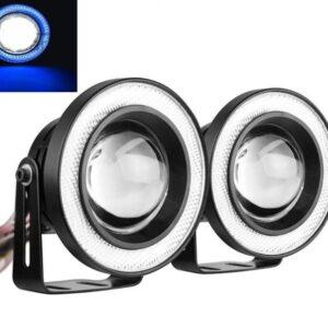 2 Χ Universal fog φώτα ομίχλης LED COB Angel Eyes 3.5 ίντσες 89mm μπλε στεφάνη IP65 OEM-pazari4all.gr