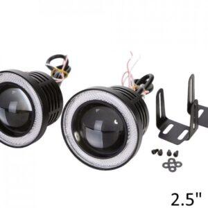 2 Χ Universal fog φώτα ομίχλης LED COB Angel Eyes 2.5 ίντσες 64mm μπλε στεφάνη IP65 OEM-pazari4all.gr