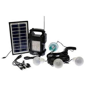 pazari4all.gr-Ηλιακό σύστημα φωτισμού & φόρτισης FM με panel, μπαταρία, φακό & 3 λάμπες 3W GD-8050
