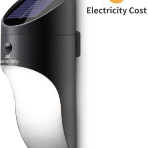 pazari4all.gr-Ηλιακό προβολάκι LED επιτοίχιο με 2 Λειτουργίες φωτεινότητας και αισθητήρα κίνηση 23,5 εκατοστά (γκρι)