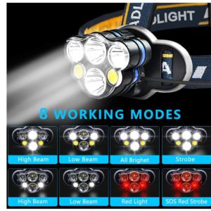 pazari4all.gr-Επαναφορτιζόμενος φακός κεφαλής με 6 LED 8 λειτουργίες