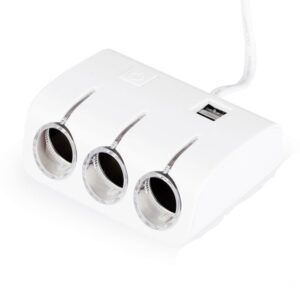 pazari4all.gr-Τριπλός αντάπτορας αναπτήρα αυτοκινήτου με 2 USB θύρες
