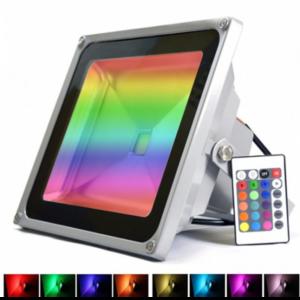 pazari4all.gr-LED Αδιάβροχος Προβολέας 50W RGB με Τηλεχειριστήριο