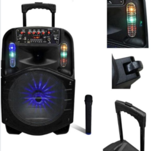 "pazari4all.gr-Επαναφορτιζόμενο τροχήλατο ηχείο με μικρόφωνο Bluetooth 12 ""CH-8612."