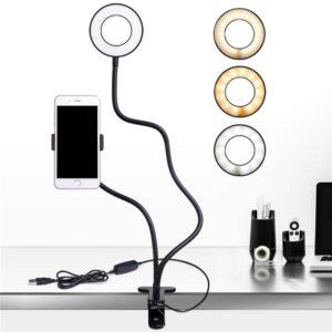pazari4all.gr-LED Φωτιστικό & Βάση Κινητού Τηλεφώνου Γραφείου USB με Κλιπ